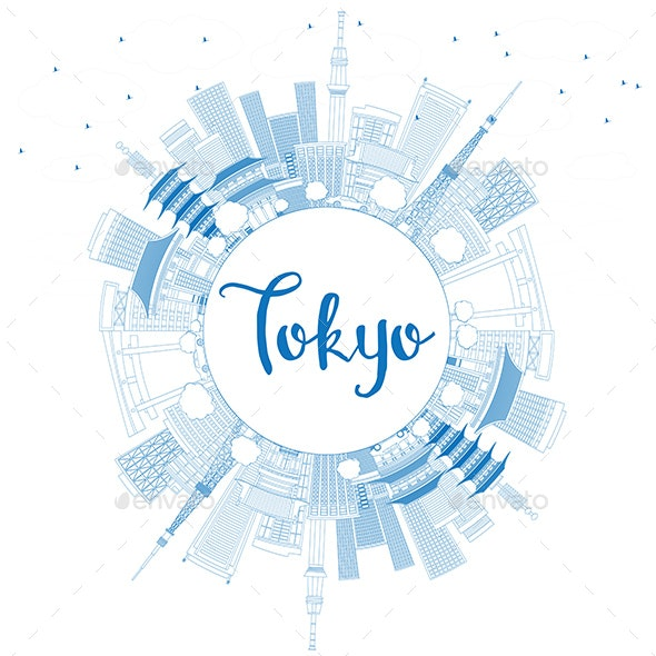 Outline Tokyo Skyline with Blue Buildings and Copy Space - Buildings Objects