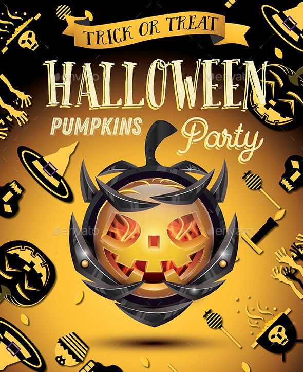 Halloween Pumpkin with Fire Flames on Armor - Halloween Seasons/Holidays