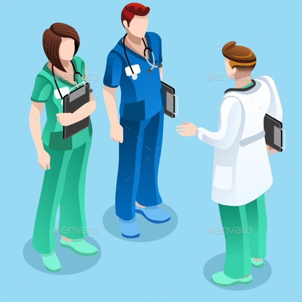 Medical Doctor Talking with Two Nurses Vector Isometric People - Health/Medicine Conceptual