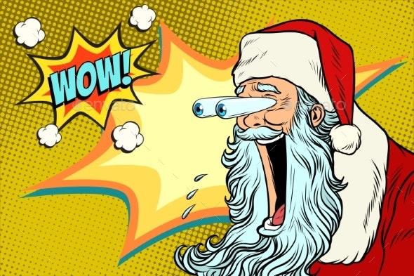 Bulging Eyes Hyper Reaction To Santa Claus - Christmas Seasons/Holidays