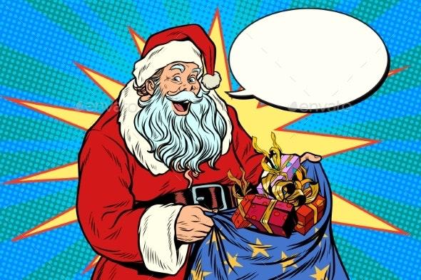 Joyful Santa Claus with Bag of Christmas Gifts - Seasons/Holidays Conceptual