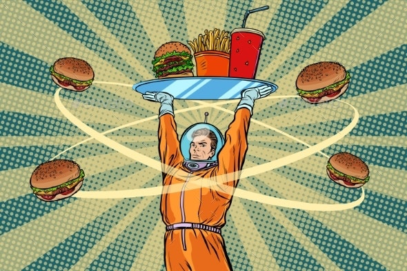 Astronaut with a Tray of Fast Food - Food Objects