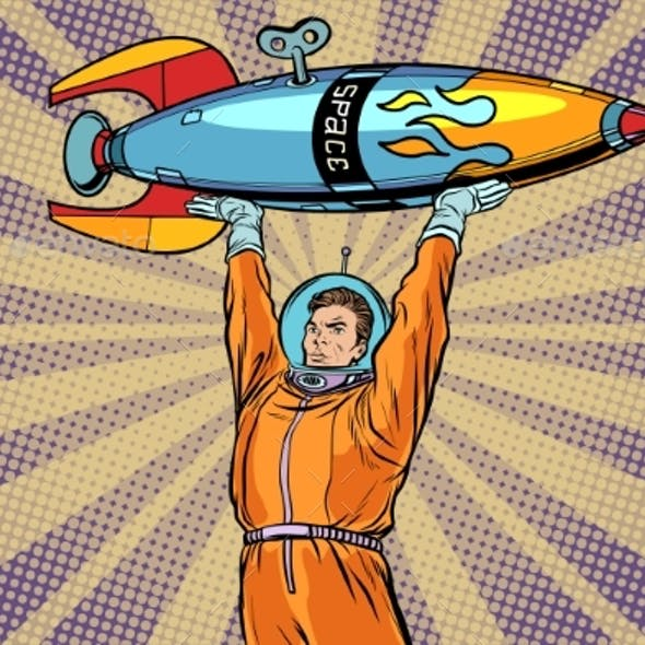Astronaut Holding a Space Rocket