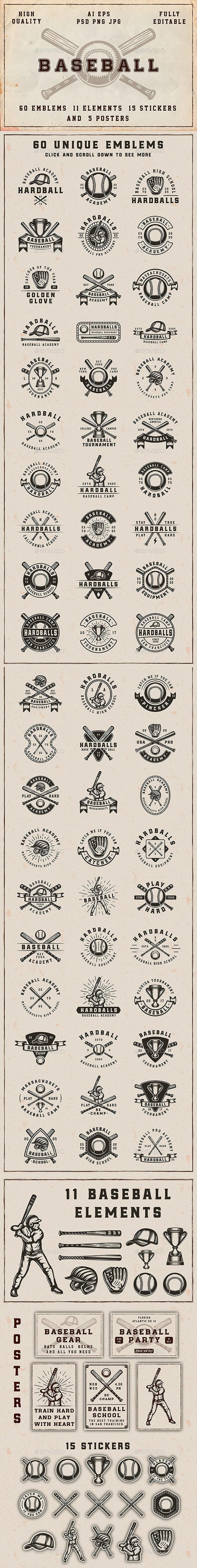 Vintage Baseball Emblems - Badges & Stickers Web Elements