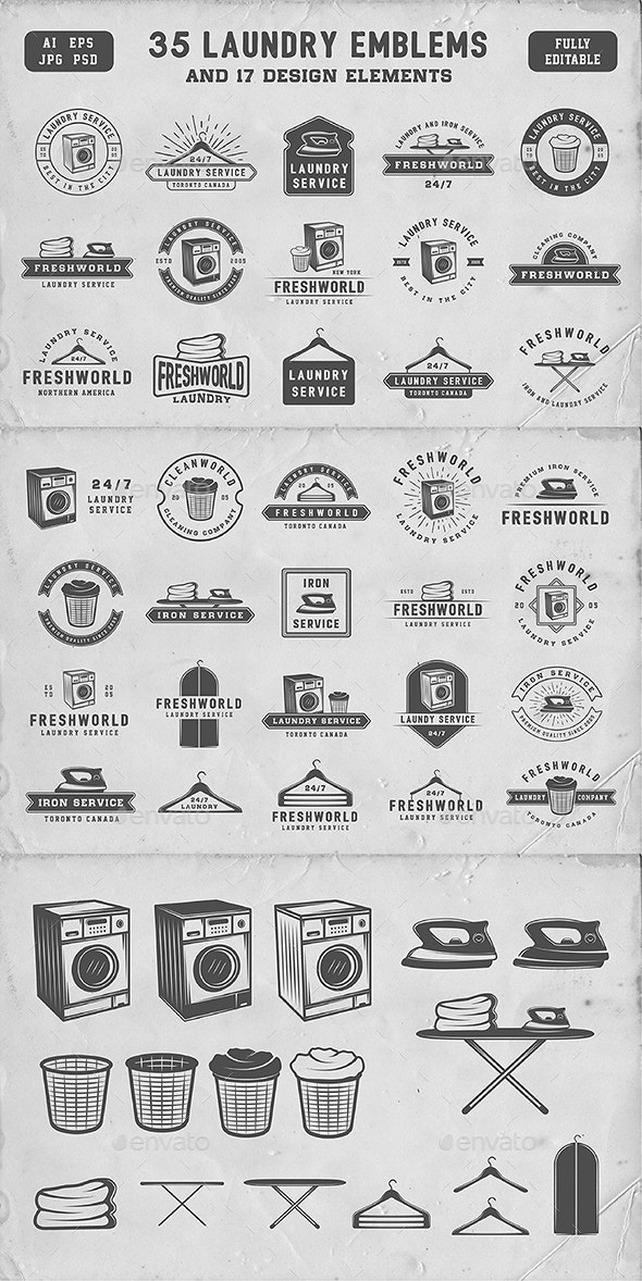 Vintage Laundry Emblems - Badges & Stickers Web Elements