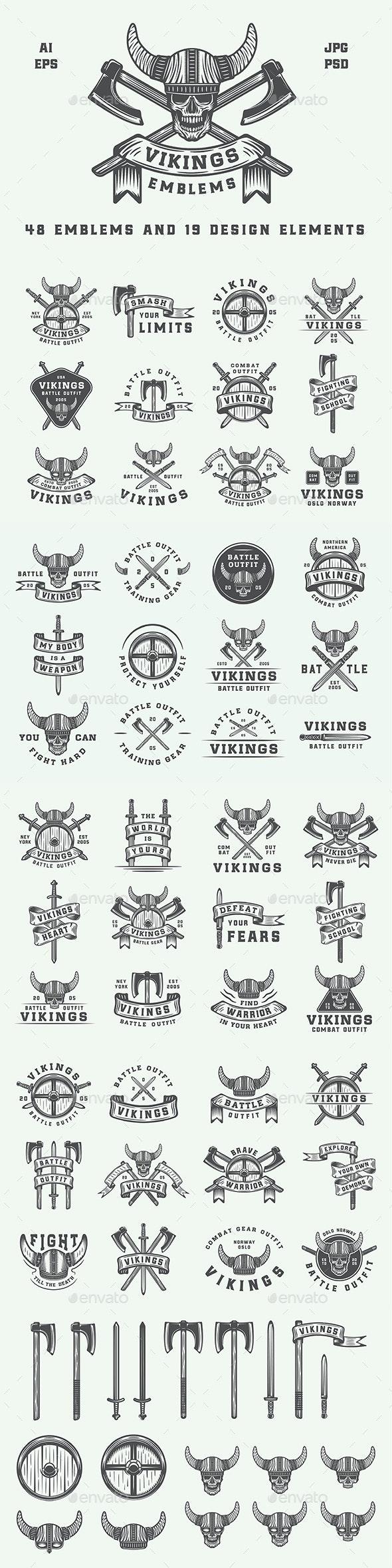 Vintage Vikings Emblems - Badges & Stickers Web Elements