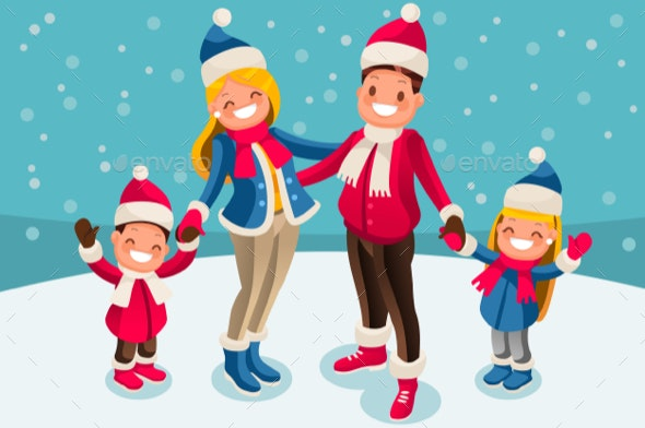 Christmas 2018 Family Wishes Illustration - Vectors