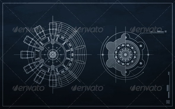 Drawing mechanism on a dark background - Abstract Conceptual
