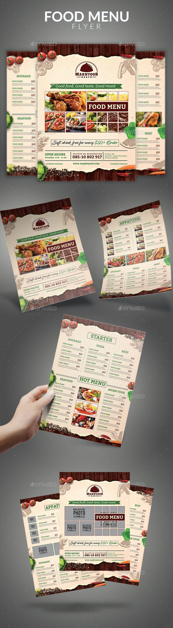 Food Menu Flyer - Food Menus Print Templates