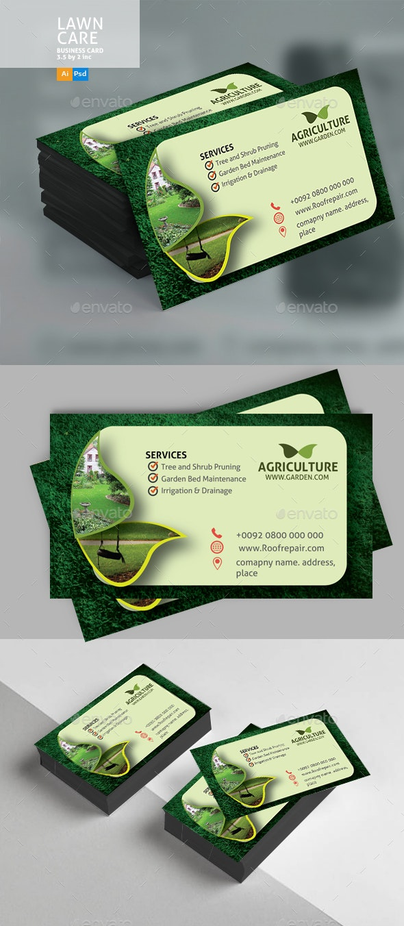 Lawn Care Business Card - Business Cards Print Templates