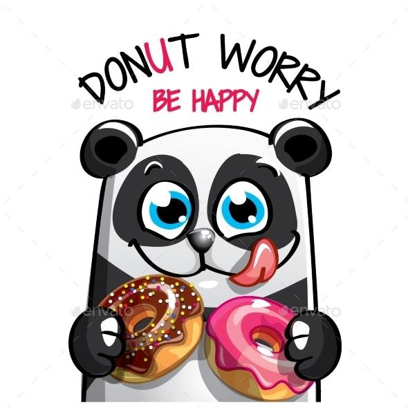 Vector Illustration of Cartoon Panda with Donuts - Animals Characters