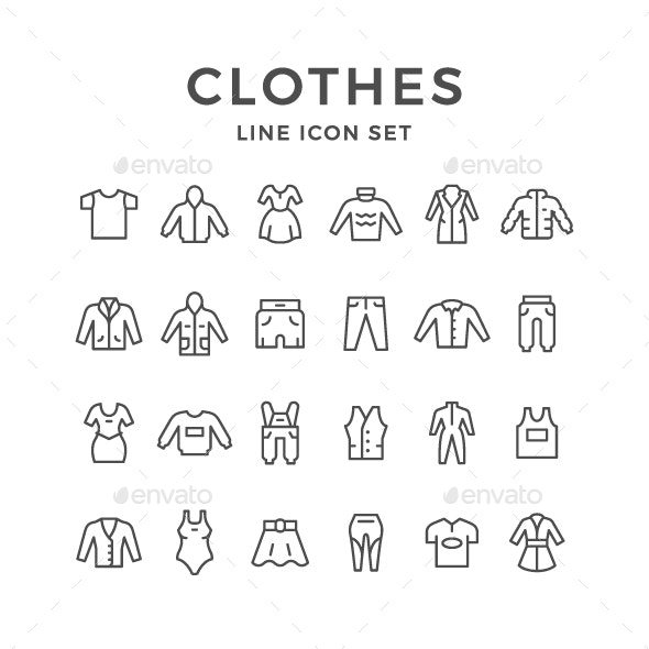 Set Line Icons of Clothes - Man-made objects Objects