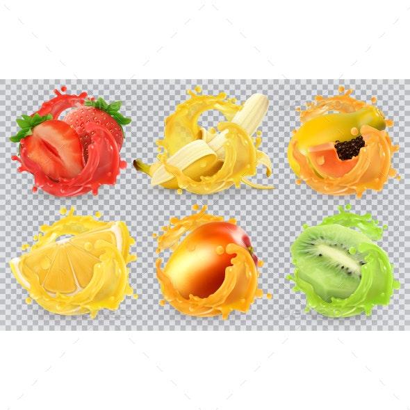 Fresh Fruits And Splashes - Vectors