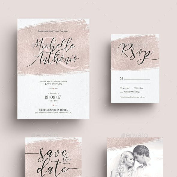 Foil Wedding Invitation Set