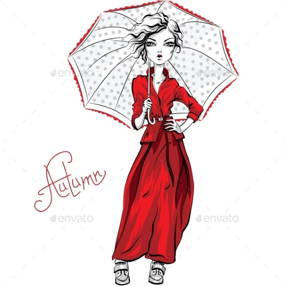 Vector Fashion Girl in Autumn Clothes - Miscellaneous Vectors