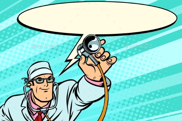 Doctor Physician with Stethoscope Says Comic Cloud - Health/Medicine Conceptual