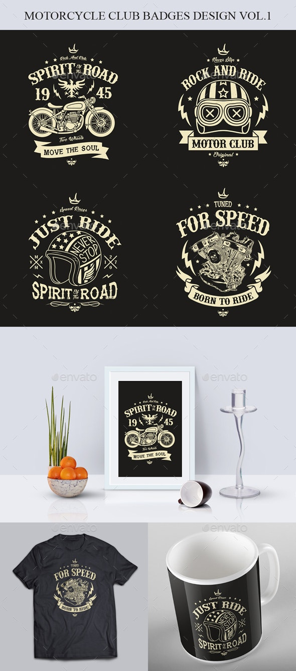 Motorcycle Club Badges Design Vol.1 - Badges & Stickers Web Elements