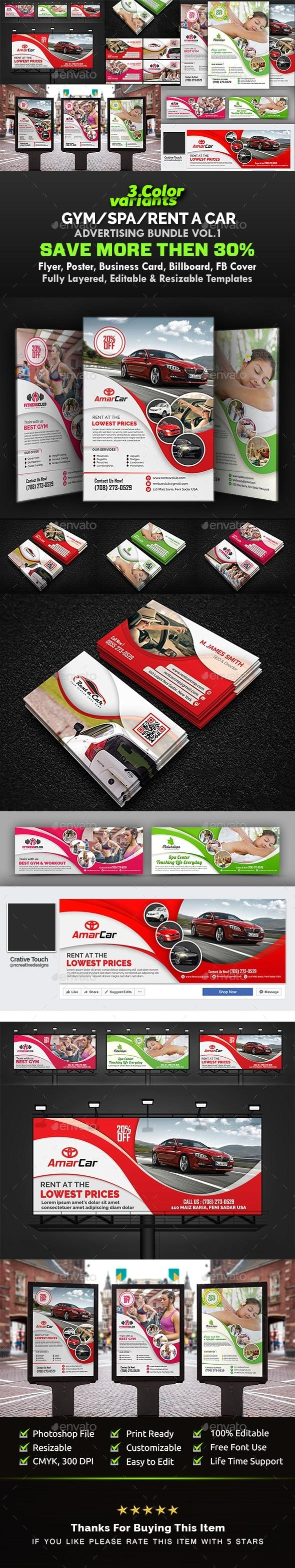 Gym Ad Bundle | Spa Ad Bundle I Car Advertising Bundle Vol.1 - Signage Print Templates