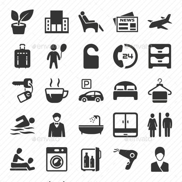 Hotel Services Icons Set - Gray Version