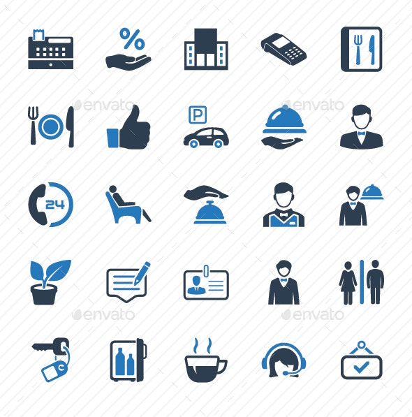 Restaurant Service Icons - Blue Version - Web Icons