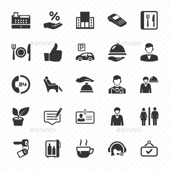 Restaurant Service Icons - Gray Version