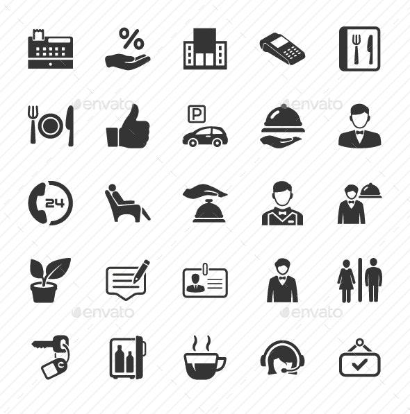 Restaurant Service Icons - Gray Version - Web Icons