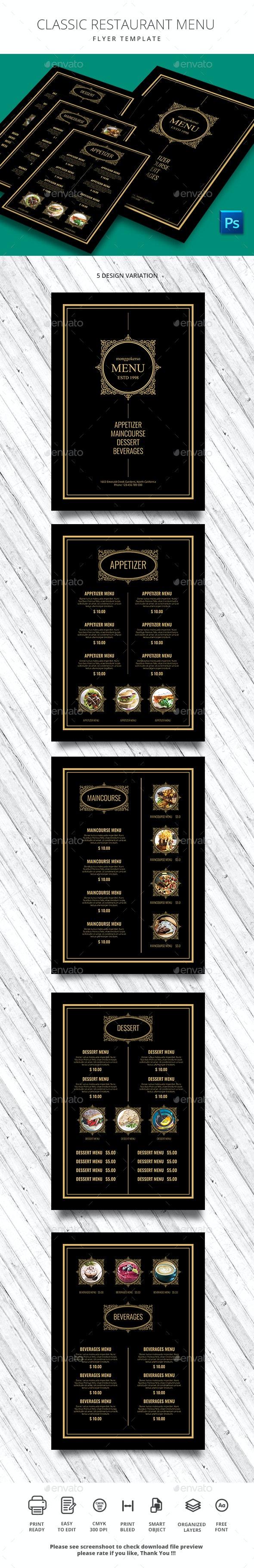 Classic Restaurant Menu - Food Menus Print Templates