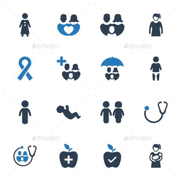 Family Healthcare Icon Set - Blue Version