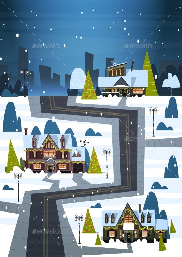 Winter Street With Houses Covered Snow Merry - Seasons/Holidays Conceptual