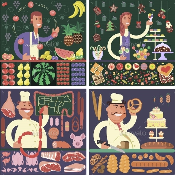 Stickers Cartoon Character Sellers - Food Objects