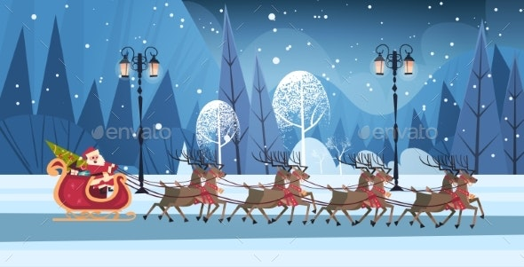 Santa Riding In Sledge With Reindeers, Merry - Seasons/Holidays Conceptual