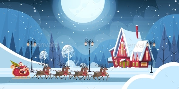 Santa Riding In Sledge With Reindeer - Christmas Seasons/Holidays