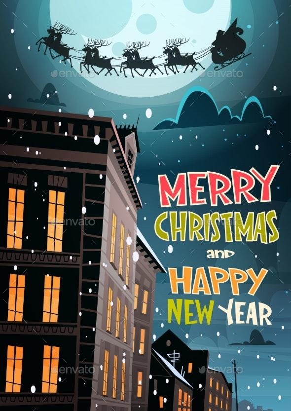 Santa Flying in Sleigh With Reindeer in Night Sky - Christmas Seasons/Holidays