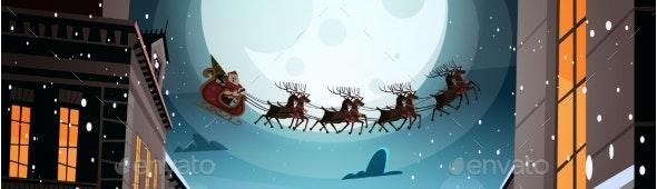 Santa Flying In Sleigh With Reindeers In Night Sky - Christmas Seasons/Holidays