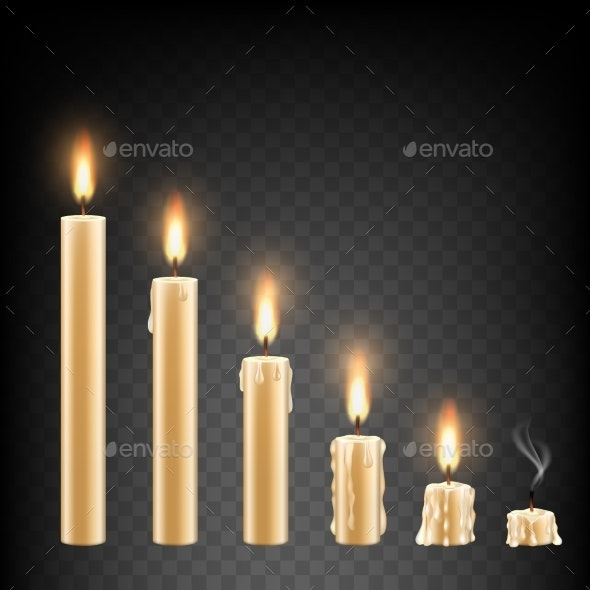 Vector Realistic Burning Candle Icon Set - Miscellaneous Vectors