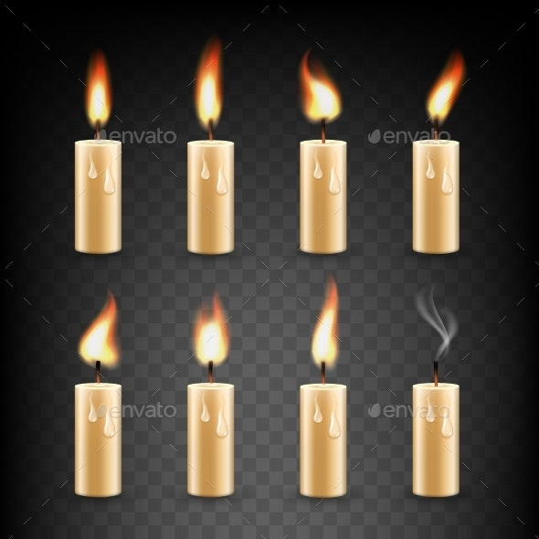 Vector Realistic Candle with Fire Animation Icon - Miscellaneous Vectors