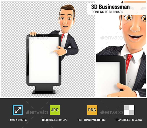 3D Businessman Pointing to Blank Billboard - Characters 3D Renders