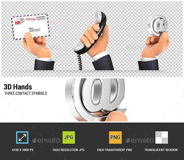 3D Hands Holding Three Contact Symbols - Characters 3D Renders