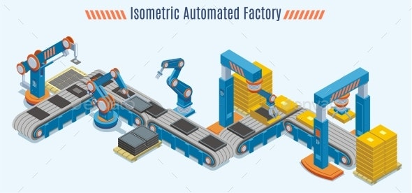 Isometric Automated Production Line Concept - Industries Business