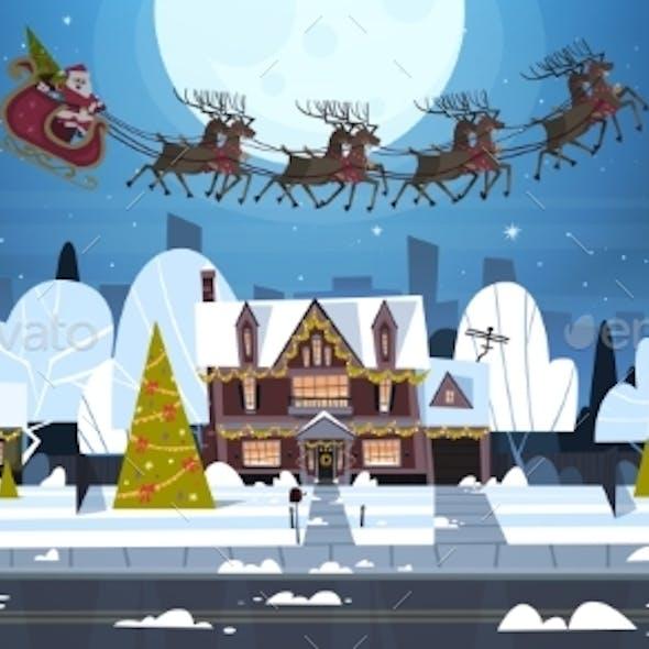 Santa Flying in Sledge With Reindeer in Sky Over