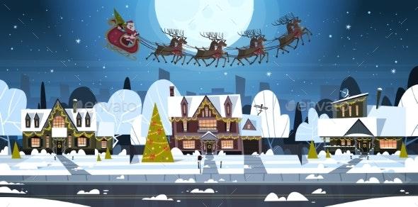 Santa Flying in Sledge With Reindeer in Sky Over - Christmas Seasons/Holidays