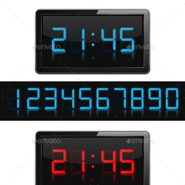 Digital Clock and Numbers