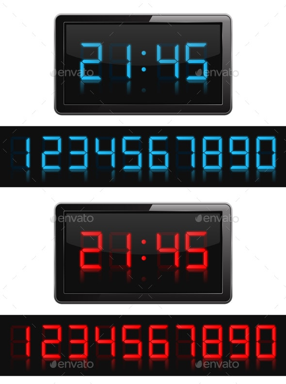 Digital Clock and Numbers - Man-made Objects Objects