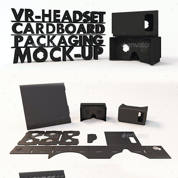 VR Headset Google Cardboard Black Packaging Mock-ups