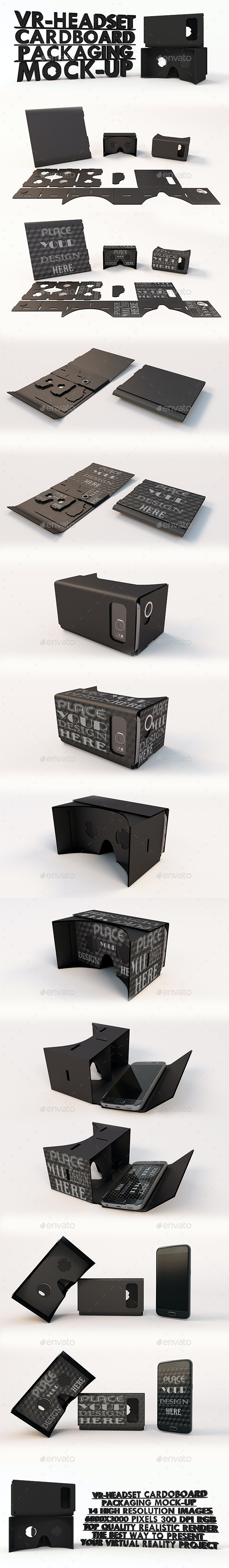 VR Headset Google Cardboard Black Packaging Mock-ups - Product Mock-Ups Graphics