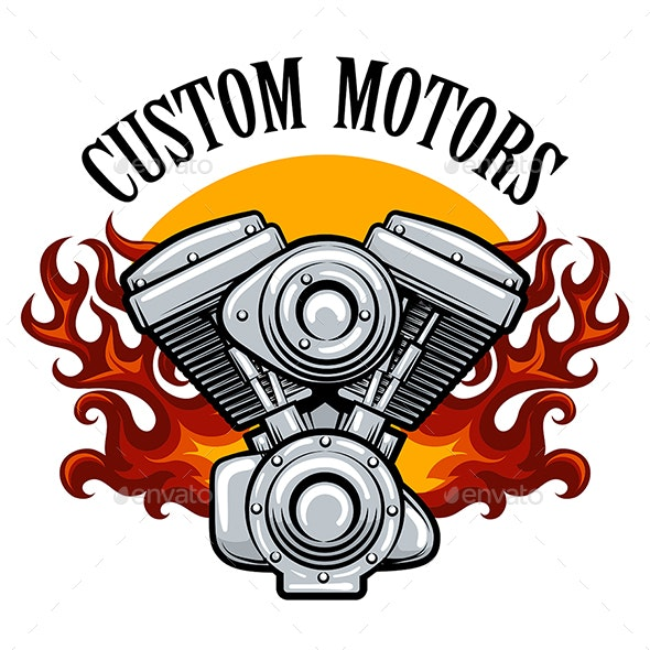 Biker Club Emblem with Pistons in Flame - Tattoos Vectors