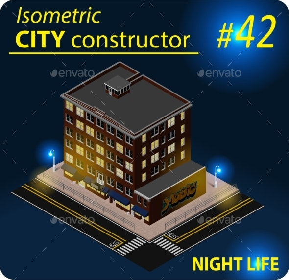 Modern Isometric Building in Night Light - Buildings Objects