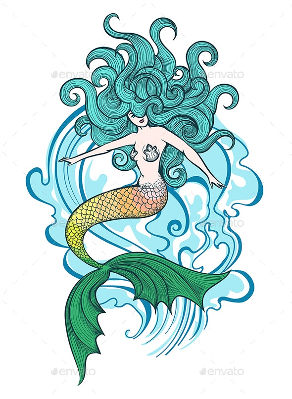 Swimming Mermaid Illustration - Tattoos Vectors