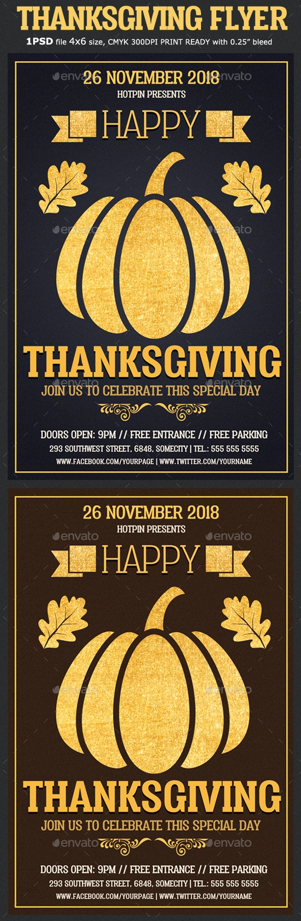 Gold Thanksgiving Flyer Template - Holidays Events