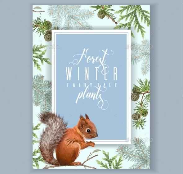 Winter Squirrel Banner - Seasons Nature